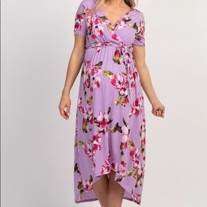 PinkBlush Lavender Floral Maternity Wrap Dress